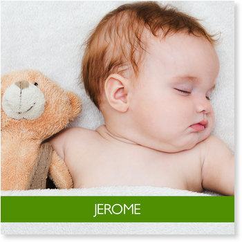 Geburtskarten, Babyfoto in Grün