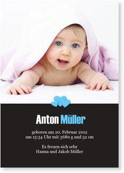 Geburtskarten, Herzchen in Blau