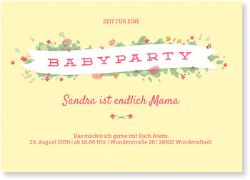 Einladungskarten Babyparty, Kleine Blümchen
