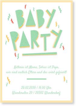 Einladungskarten Babyparty, Konfetti