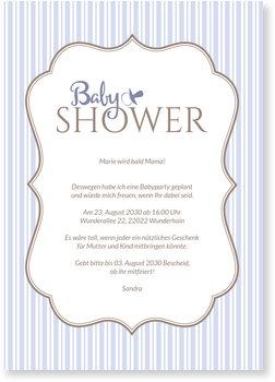 Einladungskarten Babyparty, Vintage - Rahmen auf Blau