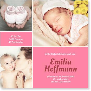 Geburtskarten, Bildertrio fürs Baby