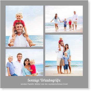 Karten selbst gestalten, Quadrat - Vier Fotos - Grau