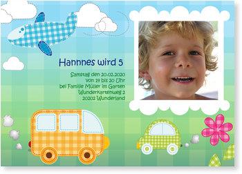 Einladungskarten Kindergeburtstag, Karierter Stadtdschungel