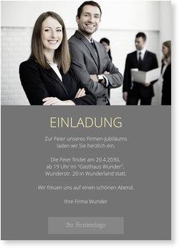 Einladungskarten geschäftlich, Moderne Einladung in Grau