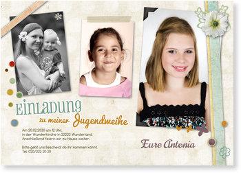 Einladungskarten Jugendweihe, Bunte Collage