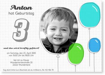 Einladungskarten Kindergeburtstag, Bunte Luftballons für Jungen