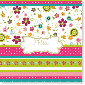 Geburtskarten, Buntes Blumenmuster