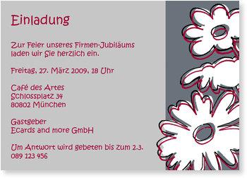 Einladungskarten geschäftlich, Außergewöhnliche Blumen in violett/grau