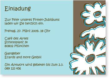 Einladungskarten geschäftlich, Außergewöhnliche Blumen in blau/braun
