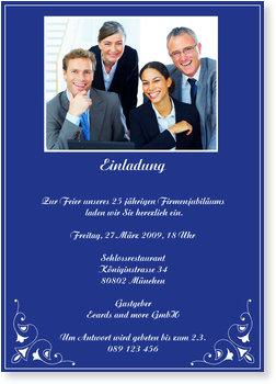 Einladungskarten geschäftlich, Blaue Einladungskarte mit Foto