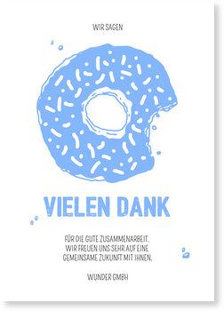 Dankeskarten geschäftlich, Donut in Blau