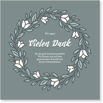 Dankeskarten geschäftlich, Moderner Blumenkreis