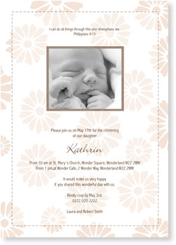 Christening Invitations – personalise with pictures, Gerbera