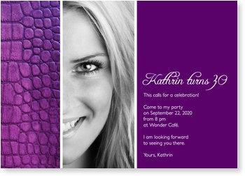 30th Birthday Invitations for a grand party, Purple Crocodile