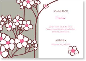 Danksagungskarten Kommunion, Kirschblüte in Taupe