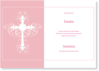 Danksagungskarten Kommunion, Ornamentkreuz in Rosé