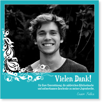 Danksagungskarten Jugendweihe selbst gestalten, Danke in Himmelblau