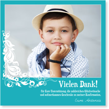 Danksagungskarten Kommunion, Danke in Himmelblau