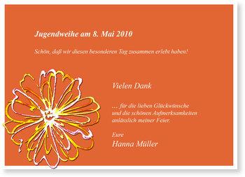 Danksagungskarten Jugendweihe selbst gestalten, Blumen auf Orange