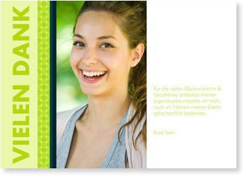 Danksagungskarten Jugendweihe selbst gestalten, Grüne Streifen