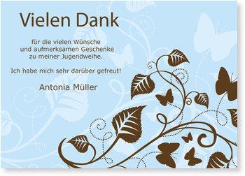 Danksagungskarten Jugendweihe selbst gestalten, Schmetterlingsbaum in Himmelblau