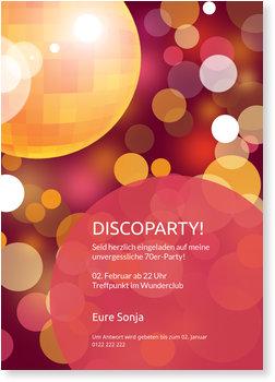 Einladungskarten Party, Partytime! Discokugel