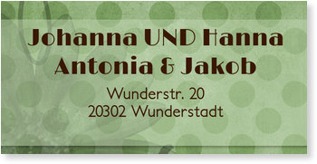 Adressaufkleber Baby, Doppelte Freude - Waldmeister