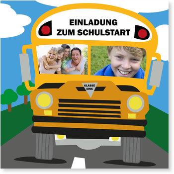 Einladungskarten Einschulung, Schulbus
