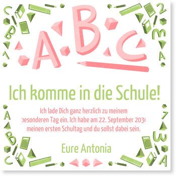 Einladungskarten Einschulung, ABC in Rot und Grün