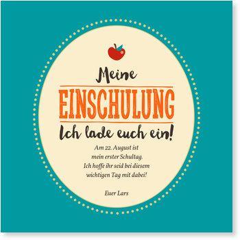 Einladungskarten Einschulung, Einschulung Apfel