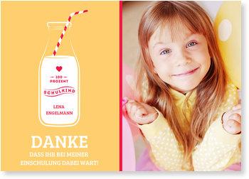 Danksagungskarten Einschulung, Milchkind