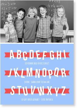 Einladungskarten Einschulung, Kleines Alphabet in Hellblau
