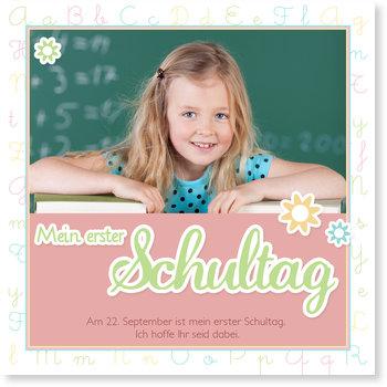 Einladungskarten Einschulung, Mein Erster Schultag in Rosé