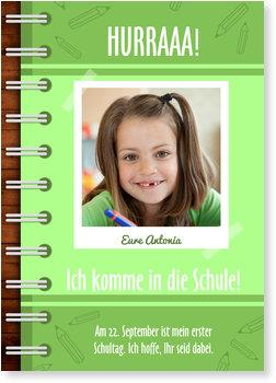 Einladungskarten Einschulung, Notizbuch in Grün