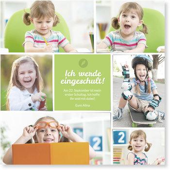 Einladungskarten Einschulung, Sechs Bilder in Grün