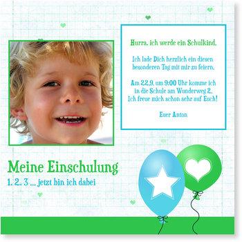 Einladungskarten Einschulung, Zwei Luftballons in Blau