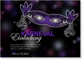 Einladungskarten Karneval und Fasching, Elegante Maske