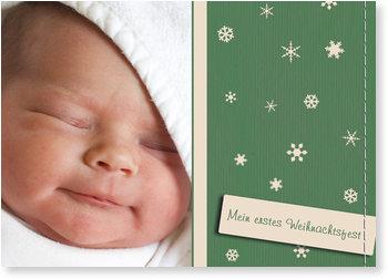 Weihnachtskarten Baby, Erste Schneeflöcken - Grün