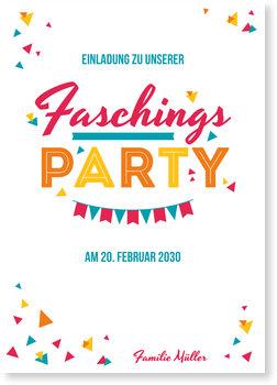 Einladungskarten Karneval und Fasching, Fasching - Bunte Schnipsel