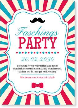 Einladungskarten Karneval und Fasching, Retroparty