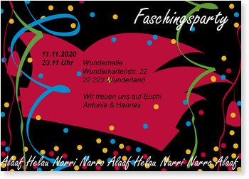 Einladungskarten Karneval und Fasching, Faschingsparty