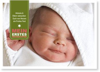 Weihnachtskarten Baby, Mein erstes Weihnachten - Label - Grün