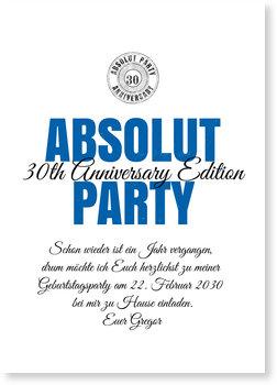Einladungskarten Geburtstag, Absolut Party
