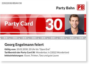 Einladungskarten Geburtstag, Party Card 30