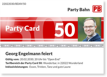 Einladungskarten Geburtstag, Party Card 50