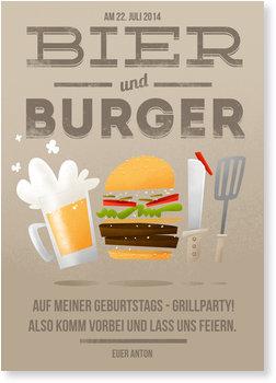 Einladungskarten Party, Bier und Burger in Braun