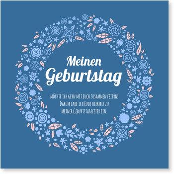 Einladungskarten Geburtstag, Blumenkranz