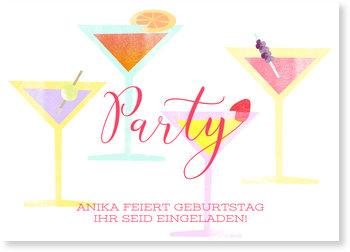 Einladungskarten Geburtstag, Cocktail Party