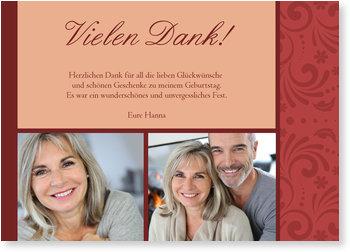 Dankeskarten Geburtstag, Elegante Zierde in Rot